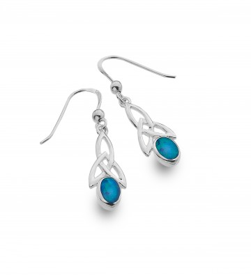 Celtic Trinity & Blue Opal Long Sterling Silver Earrings