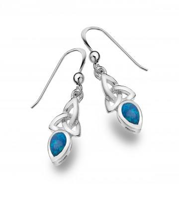 Celtic Trinity & Blue Opal Sterling Silver Earrings