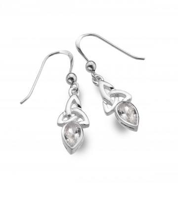 Celtic Trinity April Birthstone Diamond Sterling Silver Earrings