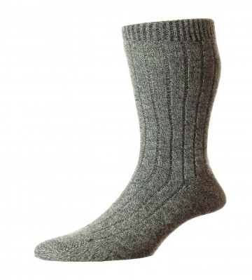 Pantherella Men's Waddington Cashmere Socks - Charcoal Chine - Medium
