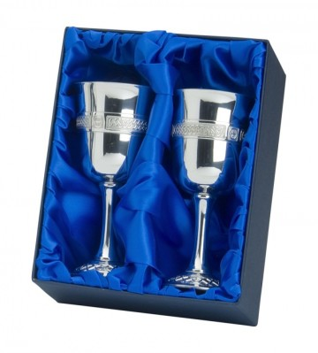 Edwin Blyde Celtic Collection Pair Of Celtic Goblets In Presentation Box