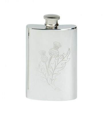 Edwin Blyde Thistle Collection Thistle Design Kidney Flask