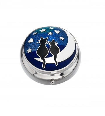 Love Cats on Moon Small Pill Box