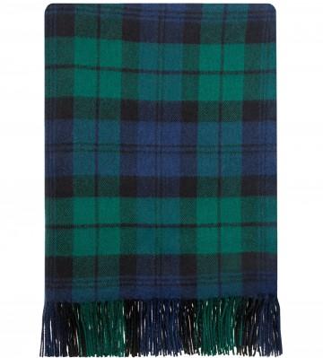 100% Lambswool Blanket in Black Watch Modern by Lochcarron of Scotland