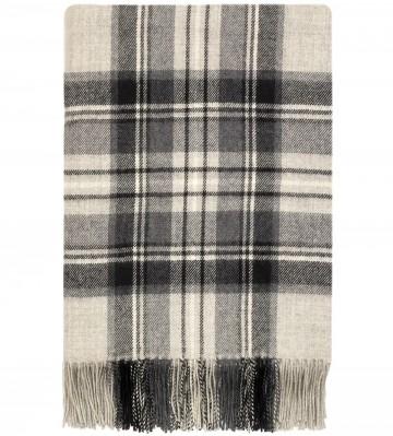 100% Lambswool Blanket in Stewart Grey by Lochcarron of Scotland