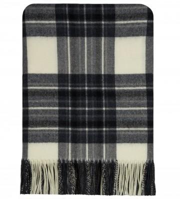 100% Lambswool Blanket in Dress Stewart Grey by Lochcarron of Scotland