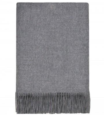100% Lambswool Blanket in Steel by Lochcarron of Scotland