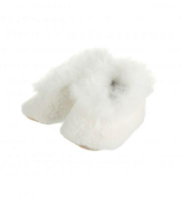Alpaca Baby Bootees with Merino Fleece - Ivory