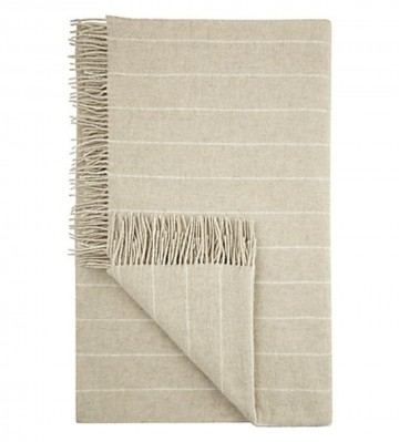 Pinstripe Lambswool Throw - Beige