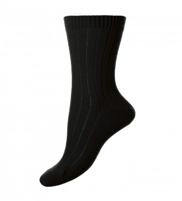 Pantherella Women's Tabitha Cashmere Ribbed Anklet Socks in Black