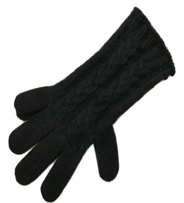 The Scarf Company Black Cashmere 3 Ply Ladies' Cable Knit Gloves