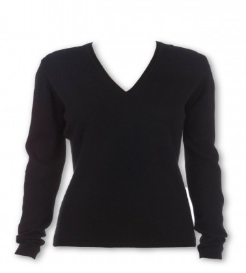 Black Ladies V-Neck Sweater - 100% Cashmere Made in Scotland