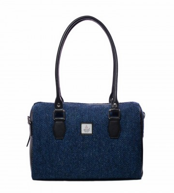 Maccessori Harris Tweed Bowling Bag in Blue Herringbone