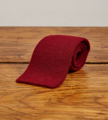 Cashmere Narrow Knitted Tie - Bordeaux
