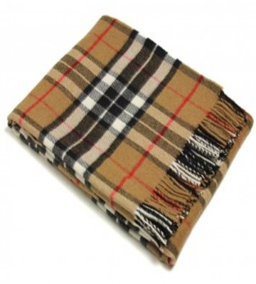 Bronte by Moon 100% Lambswool Tartan Throw - Camel Thompson