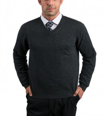 Men Charcoal V-Neck Sweaters - 100% Cashmere Made in Scotland