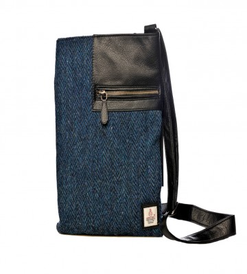 Maccessori Harris Tweed Medium Cross Body Bag in Blue Herringbone