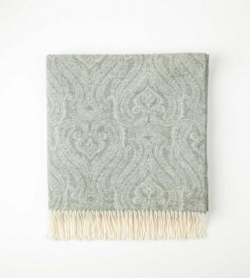 Johnston's of Elgin Cashmere Paisley Throw - Grey