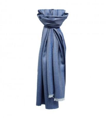 Sinclair Duncan Dark Blue Plain Herringbone Lightweight Cashmere and Silk Scarf