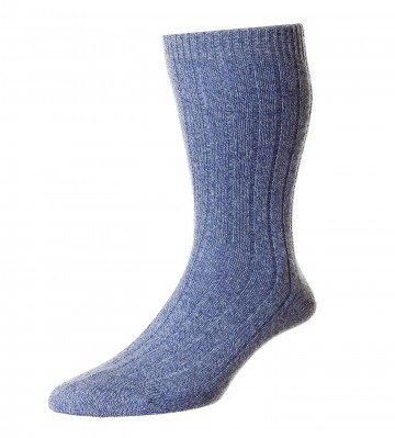 Pantherella Men's Waddington Cashmere Socks - Denim - Medium
