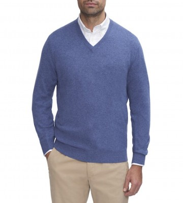 Mens Blue V-Neck Sweater - 100% Cashmere Made in Scotland