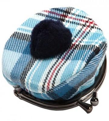 Lochcarron Princess Diana Blue Memorial Tartan Tammy Hat Coin Purse - Made in Scotland