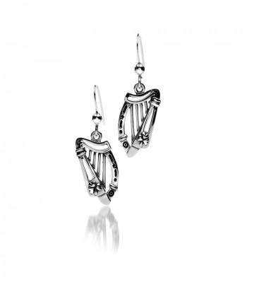 Irish Harp & Shamrock Sterling Silver Earrings