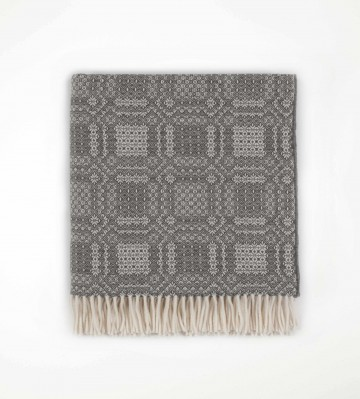 Johnston's of Elgin Lambswool Folkloric Throw - Grey