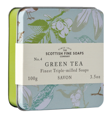 Green Tea Scottish Fine Soap in a Tin - 100g Triple Milled
