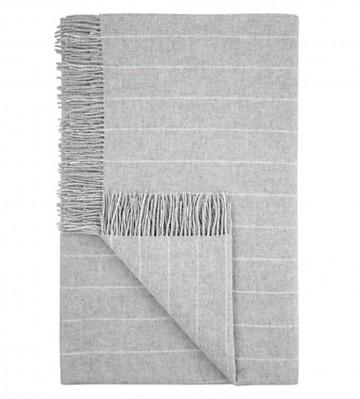Pinstripe Lambswool Throw - Grey
