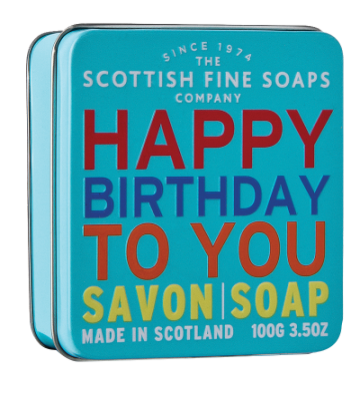 Happy Birthday Soap in a Tin