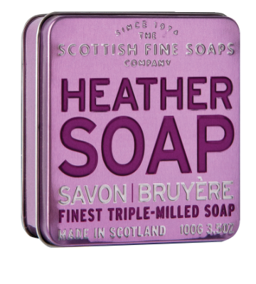 Heather Scottish Fine Soap in a Tin - 100g Triple Milled