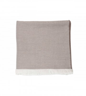 Johnston's of Elgin Extra Fine Merino Herringbone Throw - Driftwood