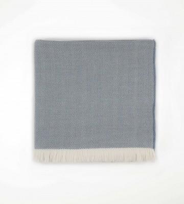 Johnston's of Elgin Merino Herringbone Bed Throw - Denim