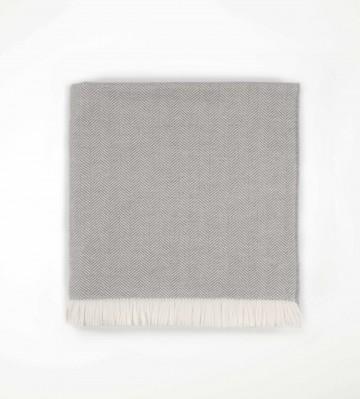 Johnston's of Elgin Merino Herringbone Bed Throw - Grey