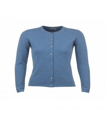 Cashmere Classic High Button Cardigan - Jean