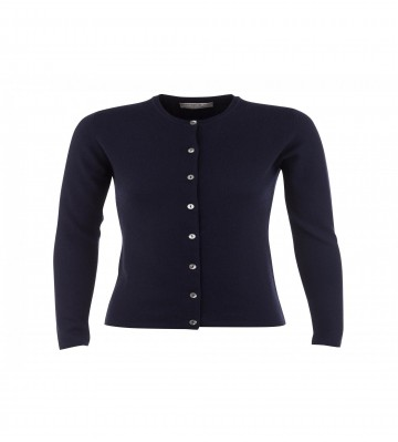 Cashmere Classic High Button Cardigan - Navy
