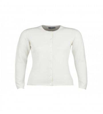 Cashmere Classic High Button Cardigan - White
