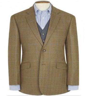 Hindhead Pure New Wool Tweed Jacket - Olive & Navy Check