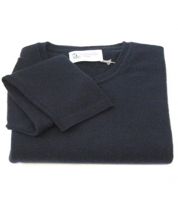 Johnstons of Elgin Navy Ladies Crew Sweater - 100% Cashmere Made in Scotland