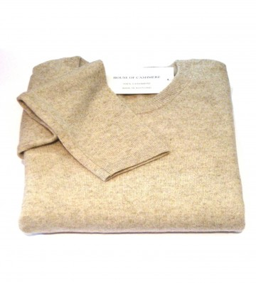 Linen Ladies Crew Sweater - 100% Cashmere Made in Scotland