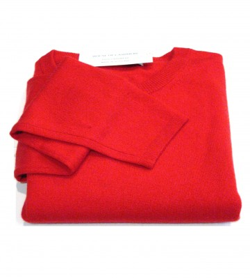 Rouge Red Ladies Crew Sweater - 100% Cashmere Made in Scotland
