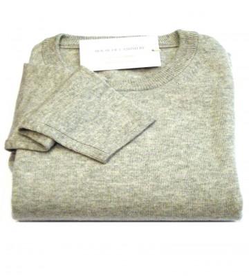 Light Grey Ladies Crew Sweater - 100% Cashmere Made in Scotland
