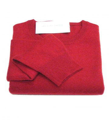 Mens Dark Red Crew Neck Sweater - 100% Cashmere Made in Scotland
