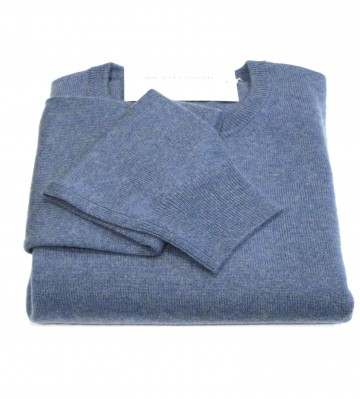Mens Blue Crew Neck Sweater - 100% Cashmere Made in Scotland