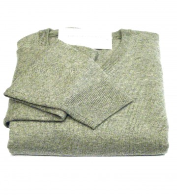 Mens Light Grey Crew Neck Sweater - 100% Cashmere Made in Scotland