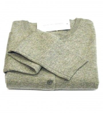 Light Grey Ladies' Crew Cardigan - 100% Cashmere Made in Scotland