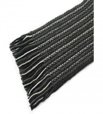 The Scarf Company Dark Grey Striped Lace Stitch Cashmere Scarf