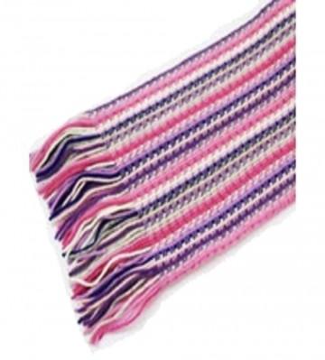The Scarf Company Pink Striped Lace Stitch Cashmere Scarf