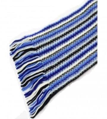 The Scarf Company Deep Blue Striped Lace Stitch Cashmere Scarf